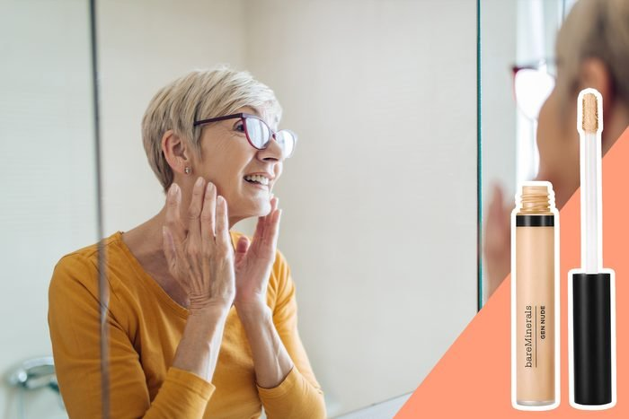 woman applying make up with glasses on with inset of concealer