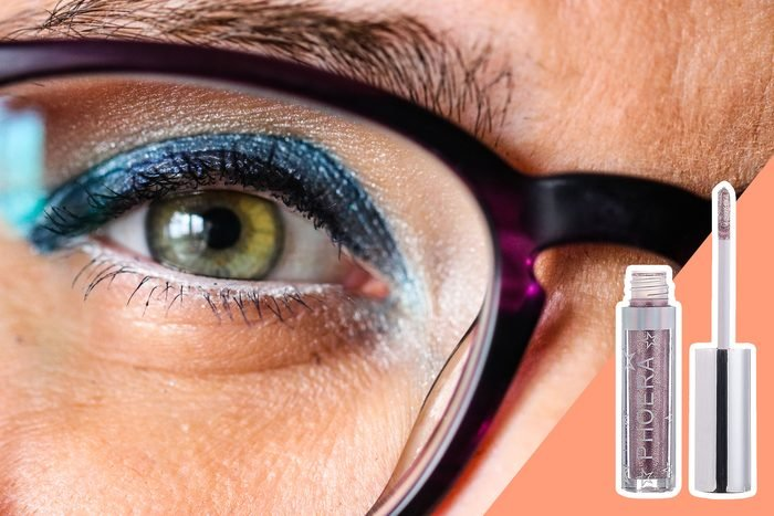 close up of sparkly eyeshadow on eye with glasses on. With inset of sparkle eyeshadow