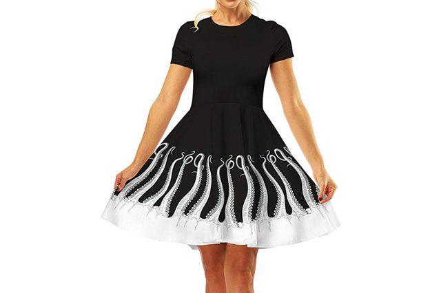 GLUDEAR Women's 3D Print Short Sleeve Unique Casual Flared Midi Dress