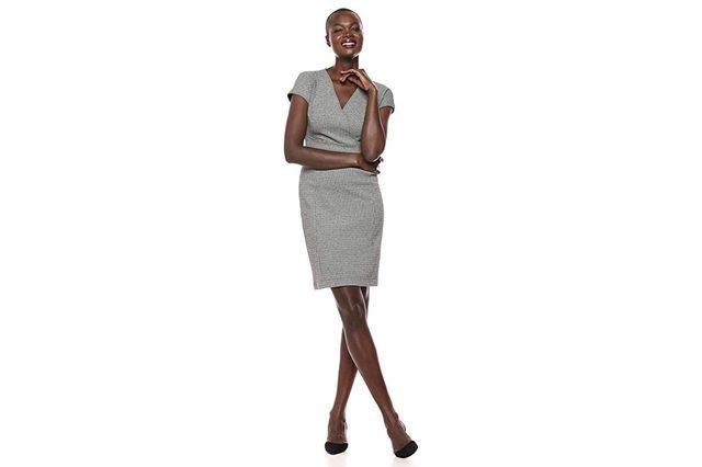 Lark & Ro Women's Cap Sleeve Faux Wrap Sheath Dress