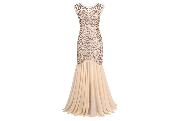 PrettyGuide Women 's 1920s Black Sequin Gatsby Maxi Long Evening Prom Dress