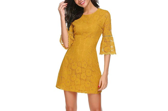Twinklady Women's 3/4 Bell Sleeve Floral Lace Elegant Cocktail Party A-Line Mini Dress