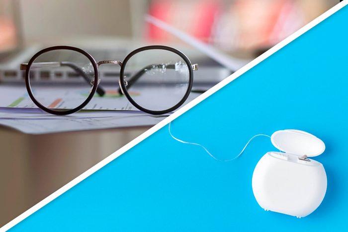Eye glasses and floss