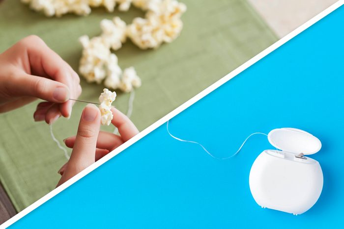 popcorn on a string and floss