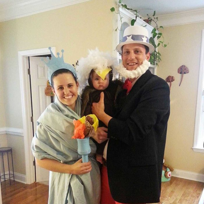 Uncle Sam, Lady Liberty, and a bald eagle Halloween costume