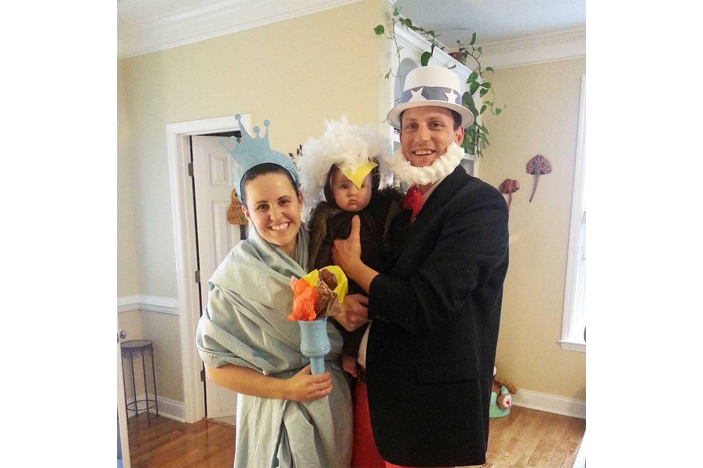 uncle sam lady liberty and a bald eagle
