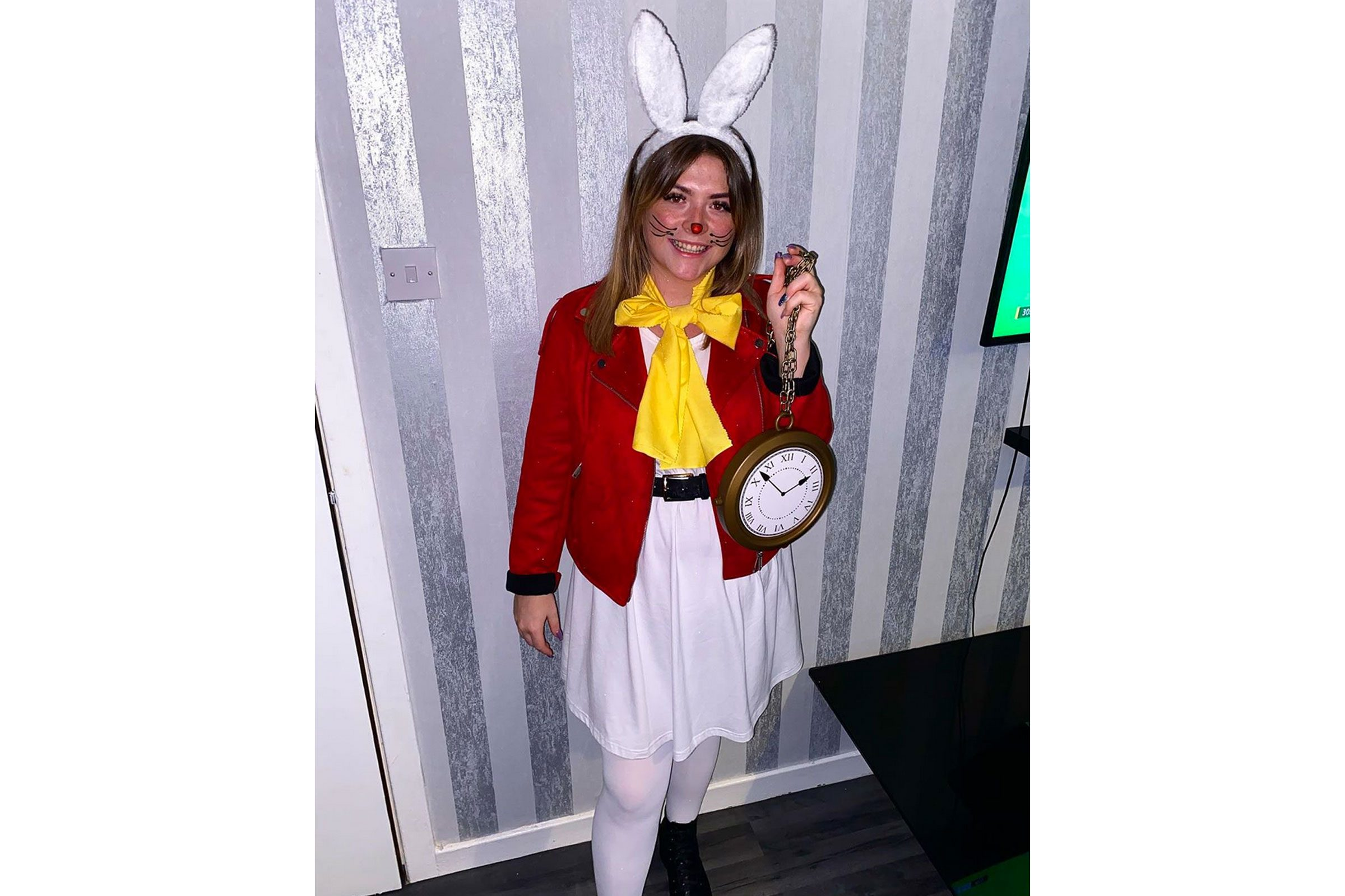 white rabbit diy halloween costume