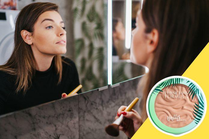 inset of Bronzer on photo of woman applying bronzer