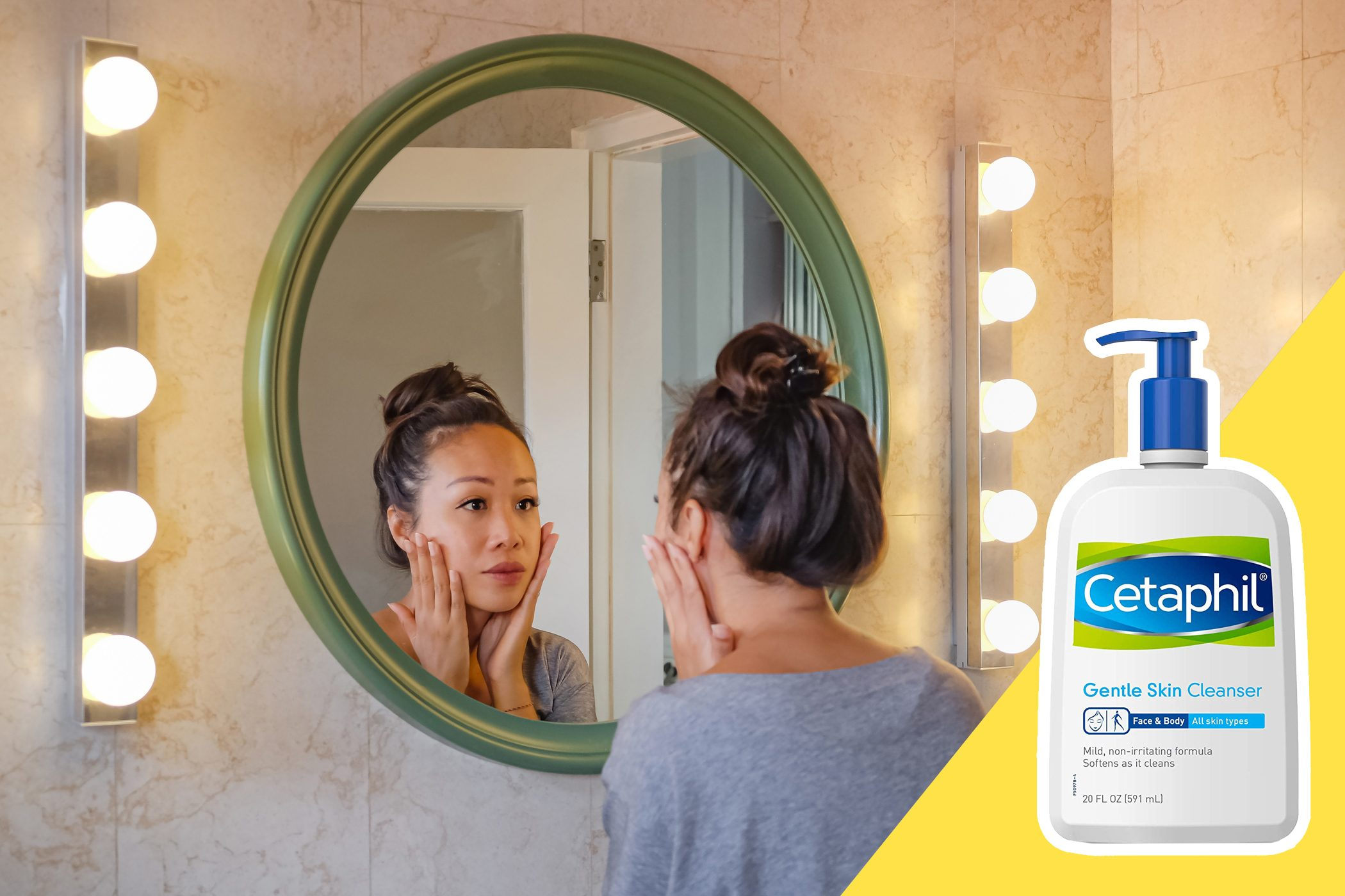 inset of Cetaphil on photo of woman inspecting her skin