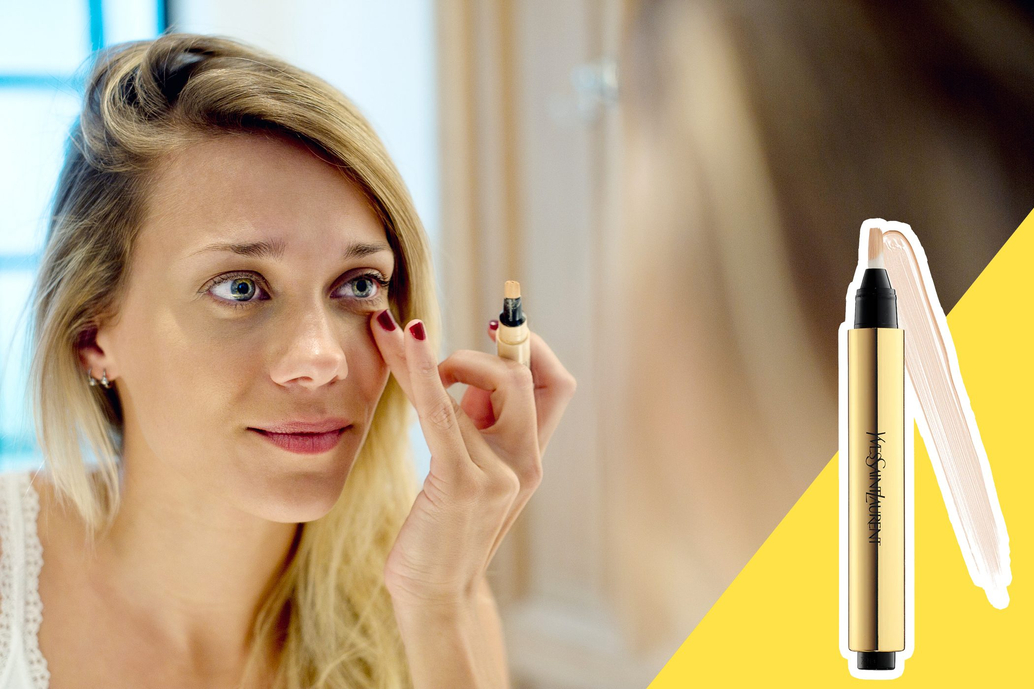 inset of Concealer on photo of woman applying concealer