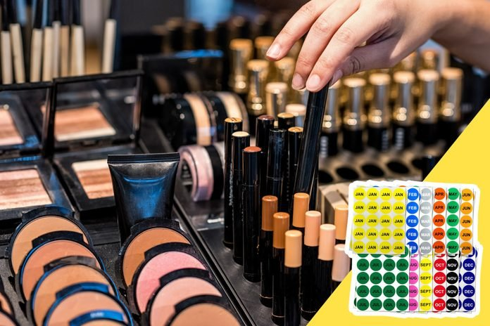 inset of date stickers on photo of makeup counter