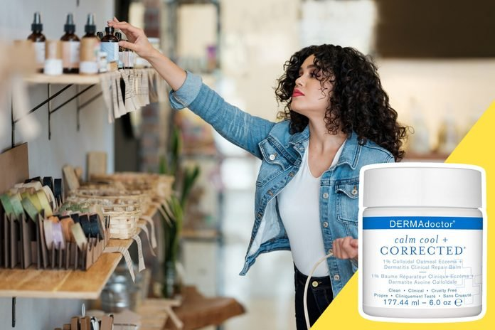 inset of cream on photo of woman shopping for natural products