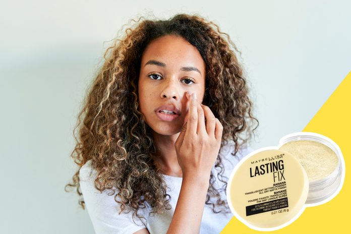 inset of Priming powder on photo of woman applying primer