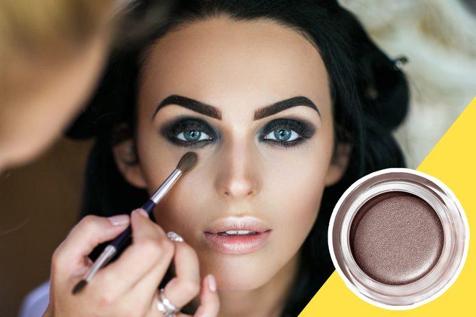 inset of eyeshadow on photo of woman with smokey eye makeup