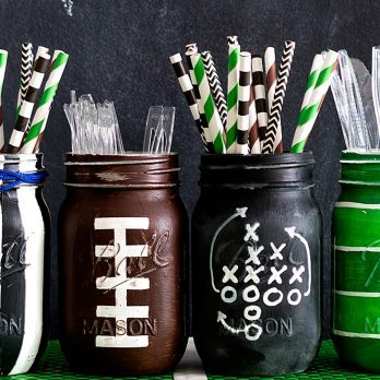 How to Turn Mason Jars into Adorable Football-Themed Containers