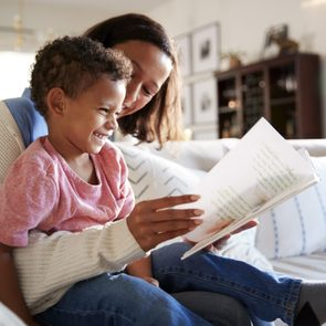 toddler and mom reading valentines day