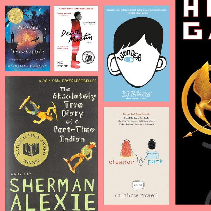 A colorful grid of young adult novels from this list