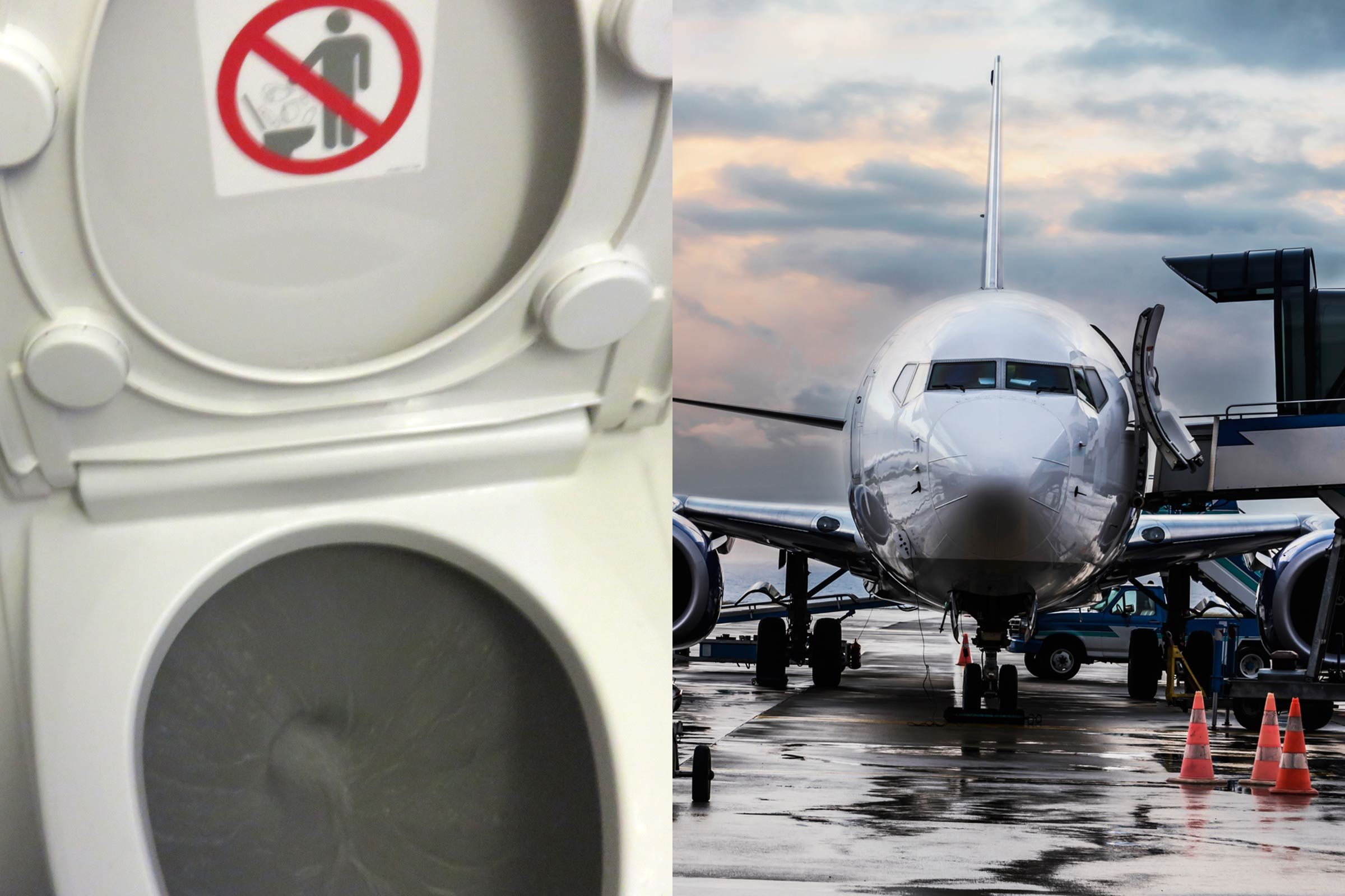 what actually happens when you flush an airplane toilet?