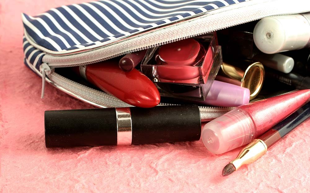 Image result for messy makeup products into your bag