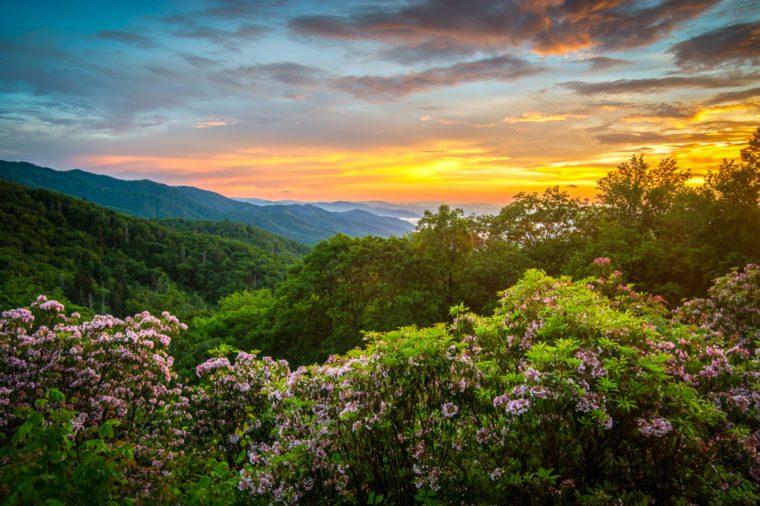 Great Smoky Mountains Spring Sunset North Carolina