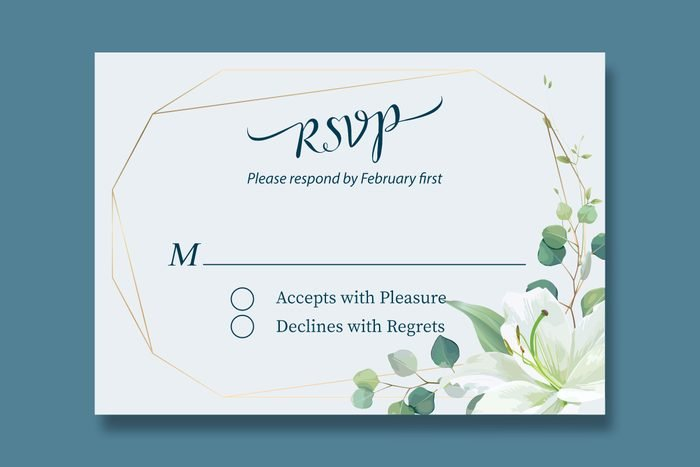wedding rsvp card with a line that begins with M
