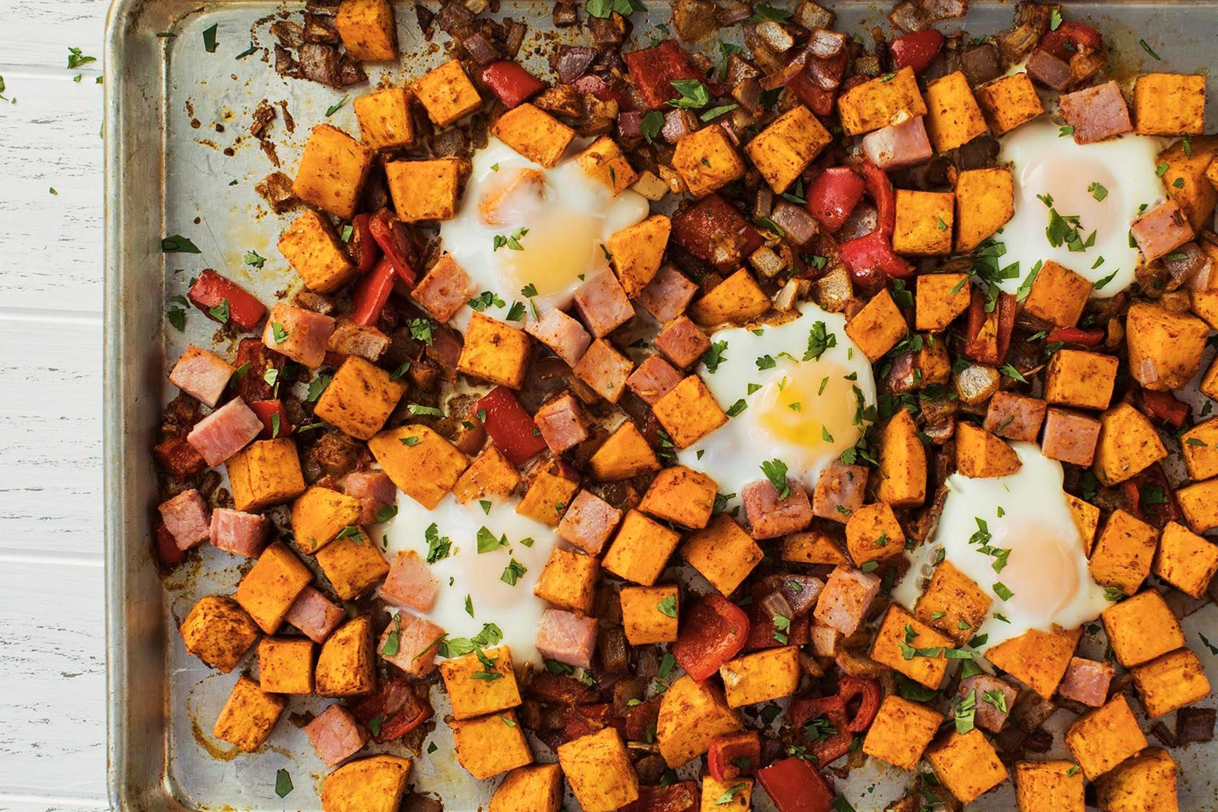 Baked-Eggs-and-Sweet-Potato-Hash