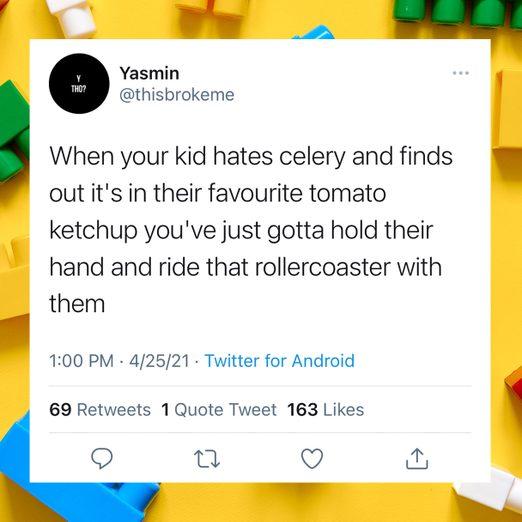 funny parenting tweet over lego blocks background