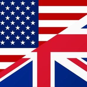 split screen of american flag and england flag
