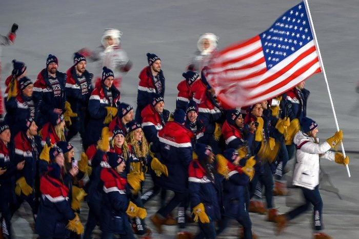 United states of America at opening ceremony at Pyeongchang winter olympics at Pyeongchang olympic stadium, Pyeongchang, South Korea