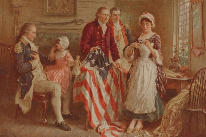 Betsy Ross Showing Major Ross And Robert Morris How She Cut The Stars For The American Flag George Washington Sits In A Chair On The Left. Print By J.l.g. Ferris
