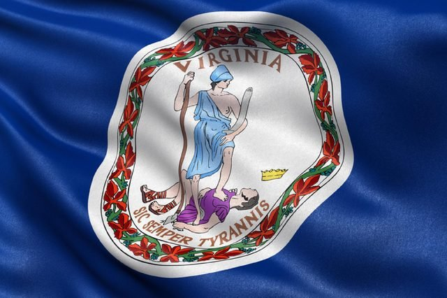 US state flag of Virginia with great detail waving in the wind.
