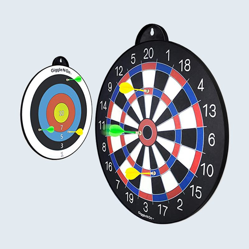 Red, white, and blue magnetic dart game