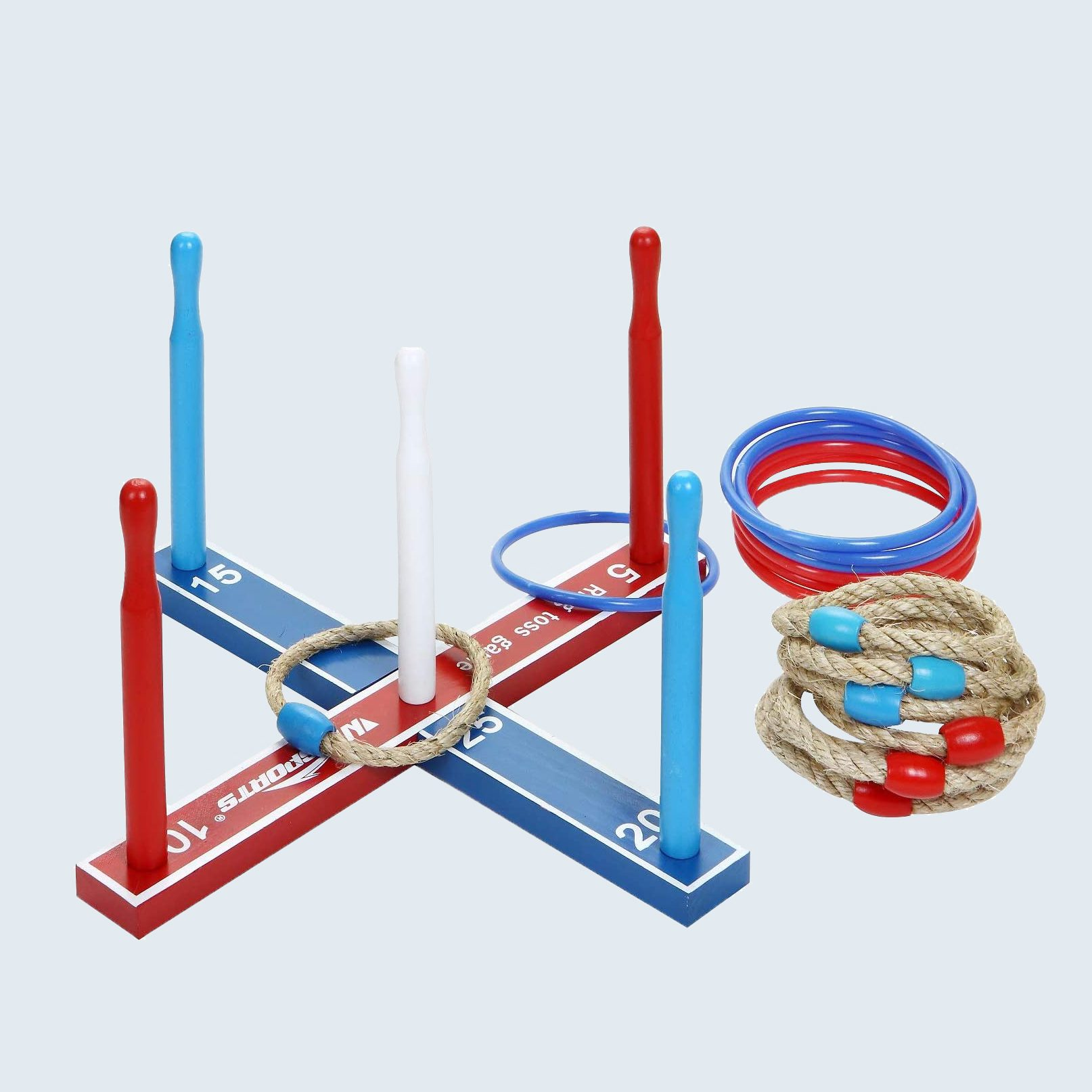 Red, white, and blue ring toss