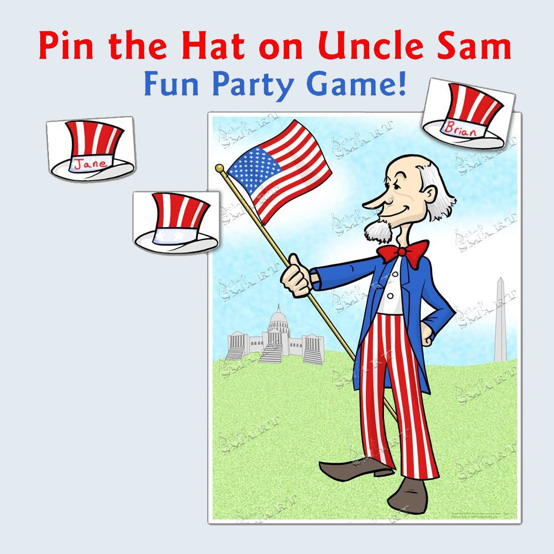Pin the hat on Uncle Sam game