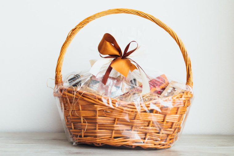 gift basket on grey background