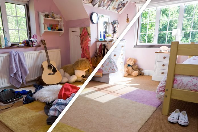 split screen with a messy, cluttered room on one half, and the same room clean on the other half