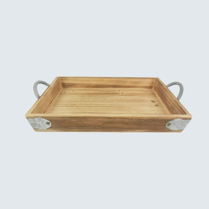 """Ashland 14.25"""" Wood Floral Tray with Galvanized Handles Wooden Tray"""