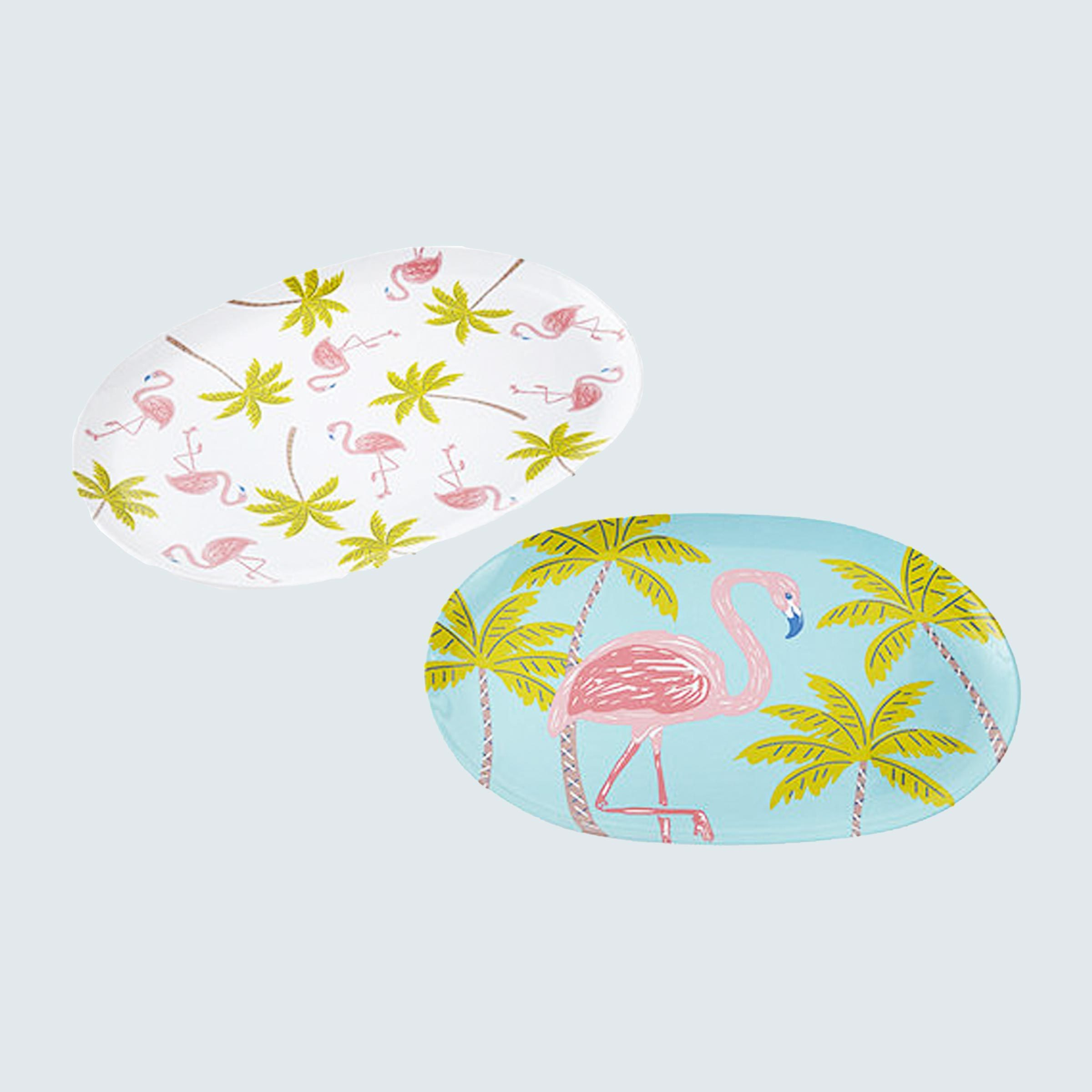 JC Penney Outdoor Oasis Palm Tree & Flamingo Melamine 2-pc. Serving Tray