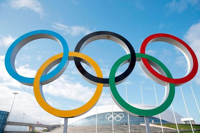 A general view of the Olympic Rings in front of the Bolshoy Ice Dome prior to the Sochi 2014 Winter Olympics in the Olympic Park Coastal Cluster on February 1, 2014 in Sochi, Russia.
