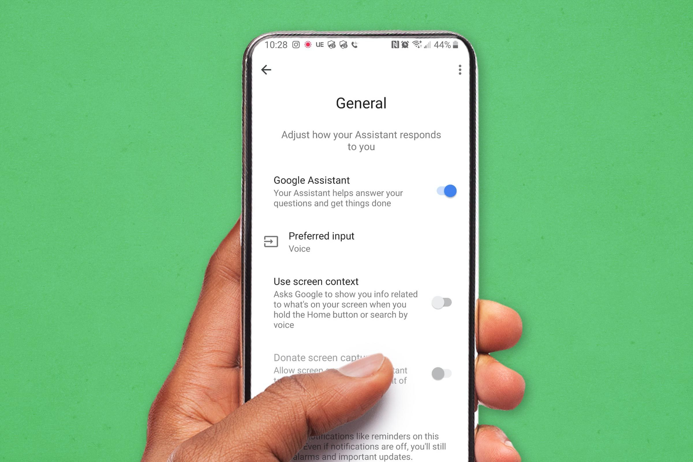Android screen showing google assistant settings