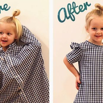 This Mom Turns Her Husband's Old Shirts into Adorable Outfits for Her Daughters