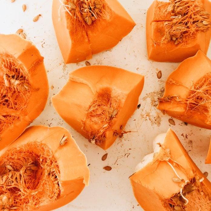high angle close up of sliced up pumpkin