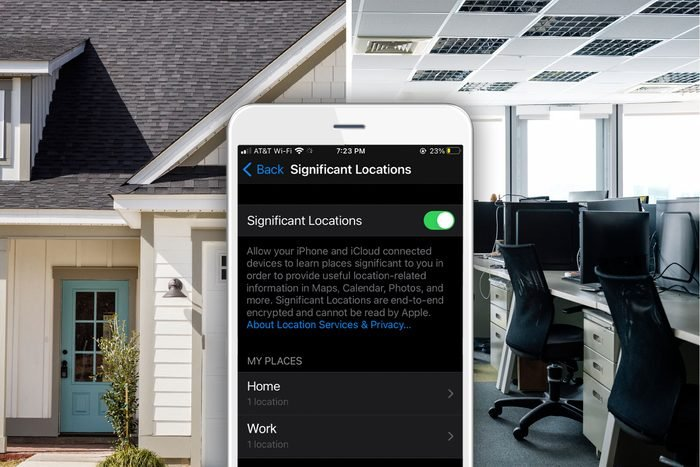 Split screen house and workplace with an iPhone showing a screen with a list of significant locations, work and home.