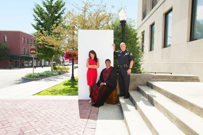 Mayor Paige Brown, Pastor Derrick Jackson, and Chief Don Bandy (from left) in Gallatin, Tennessee