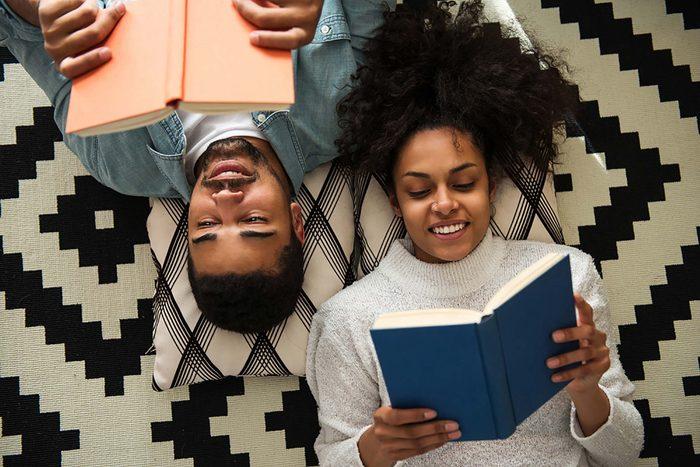 couple reading. Romantic anniversary ideas