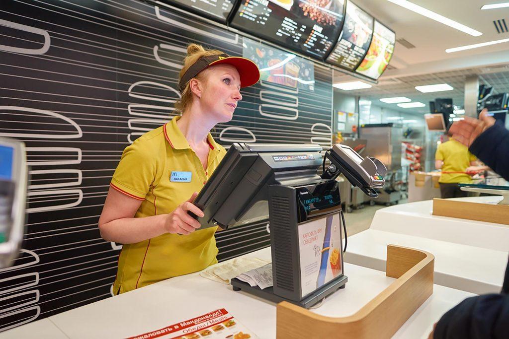 Cashier at a burger joint
