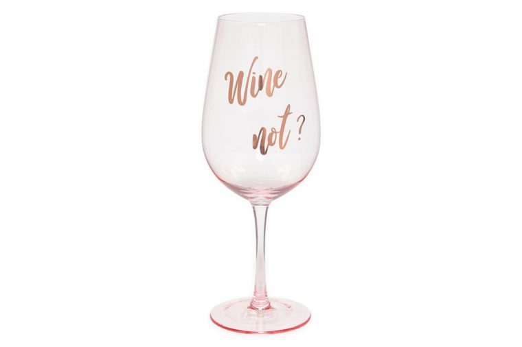 """party wine glass in pink with text that reads """"wine not?"""""""
