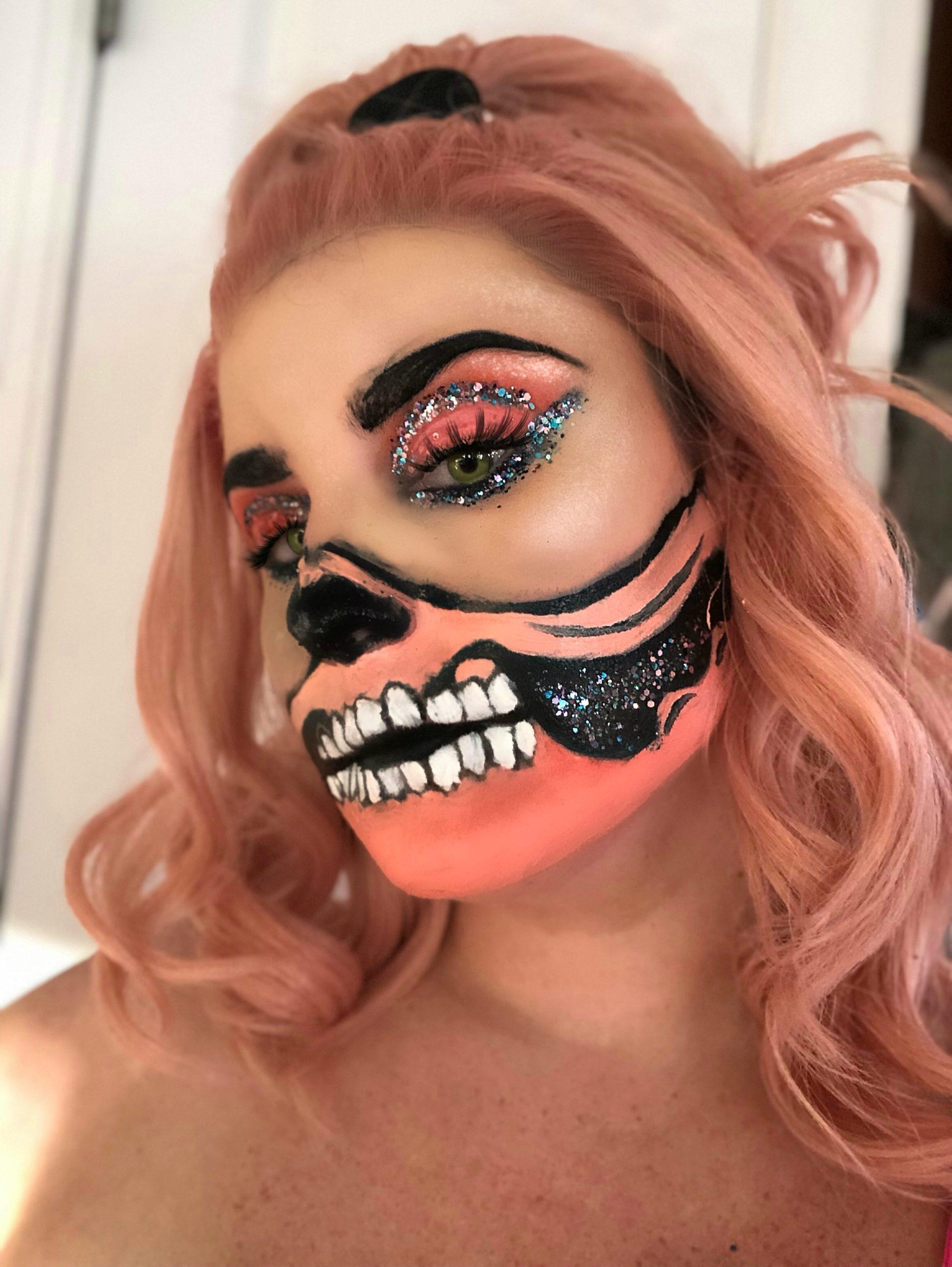 peach skull make up