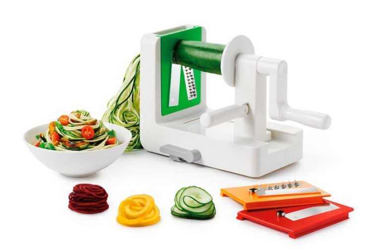 oxo tabletop spiralizer with multiple blades