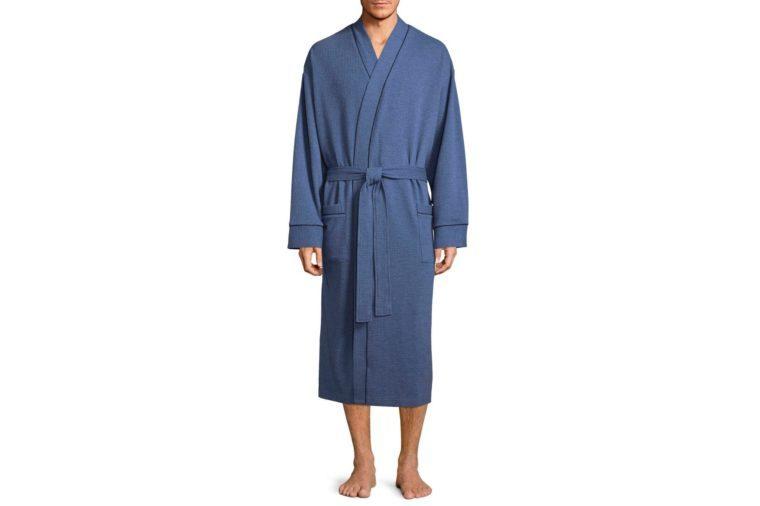 man wearing blue waffle robe waffle texture